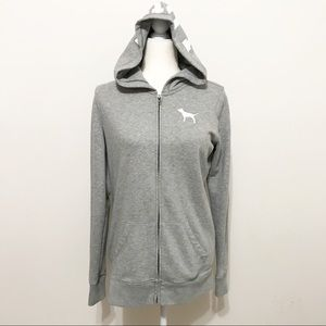 Pink Victoria's Secret Gray Fleece Hooded Jacket